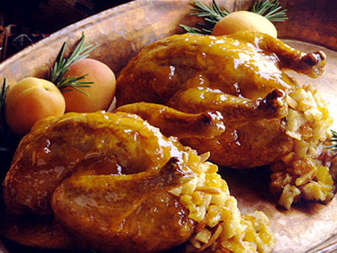 APRICOT AMARETTO STUFFED CORNISH HENS