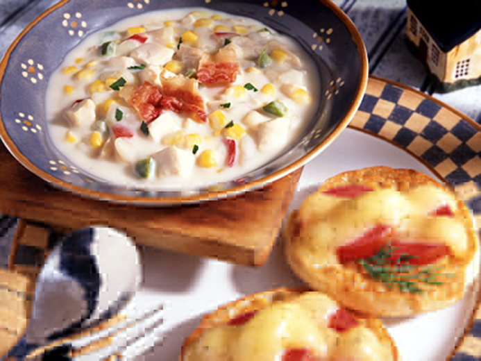 CHICKEN CORN CHOWDER WITH TOMATO CHEESE MUFFINS