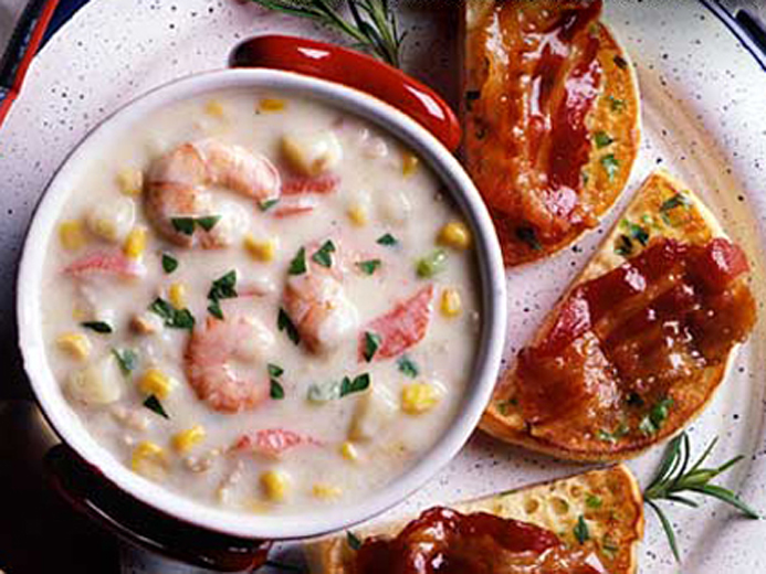 HEARTY SEAFOOD CHOWDER AND SWEET BACON & HERB MUFFINS