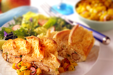 CARIBBEAN BRUNCH STRATA WITH MANGO SALSA