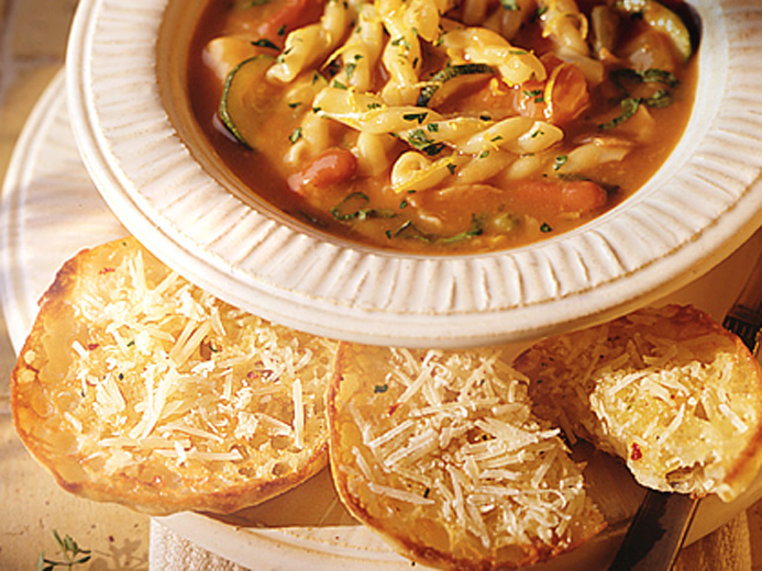 MINUTE MINESTRONE WITH BAYS CROSTINI