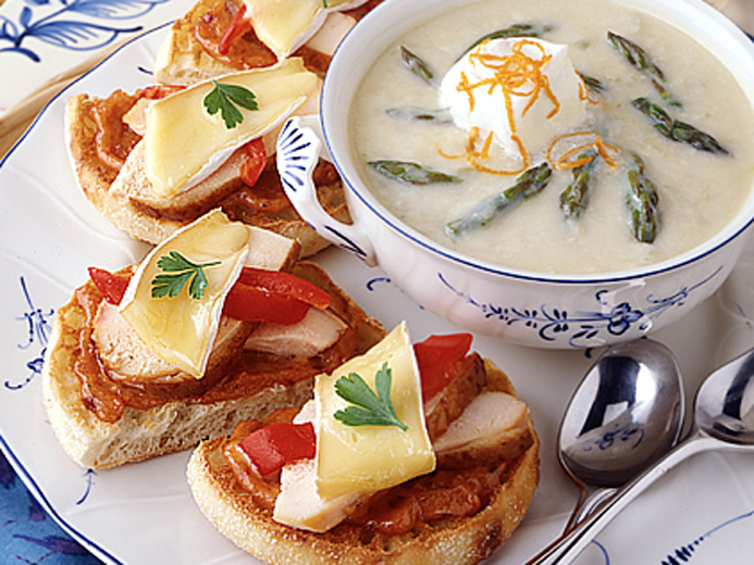 SPRINGTIME ASPARAGUS SOUP A L'ORANGE WITH SMOKED CHICKEN AND MELTED BRIE SANDWICH